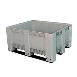 CTS2/400l paletni zaboj siv, zaprte stranice, 3 prečke